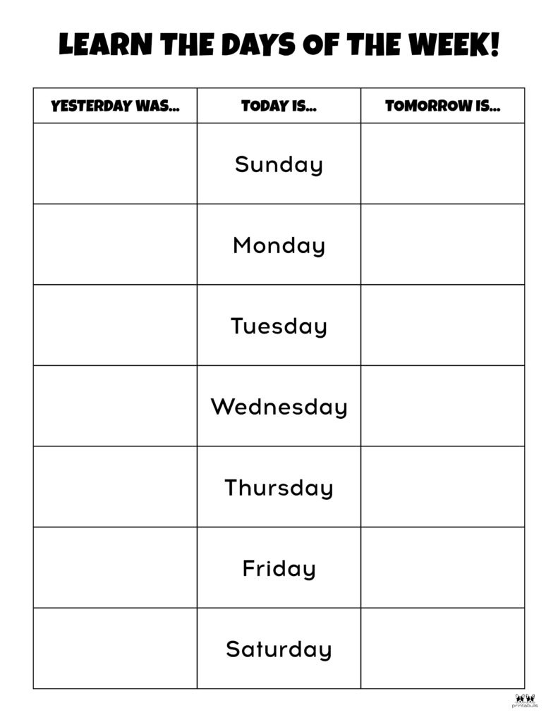 Days of the Week Worksheet-Page 11