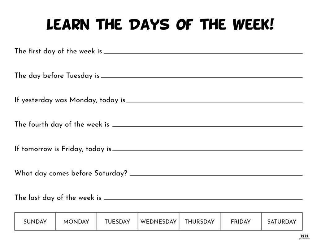 Days of the Week Worksheet-Page 12