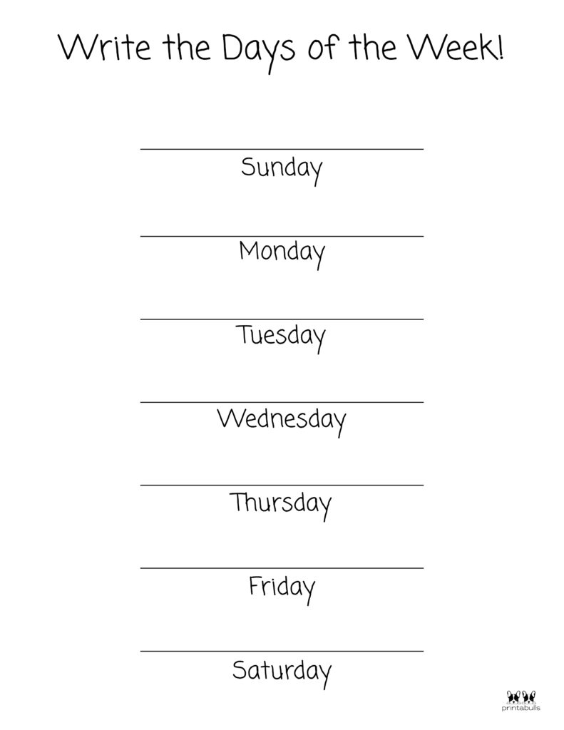 Days of the Week Worksheet-Page 14