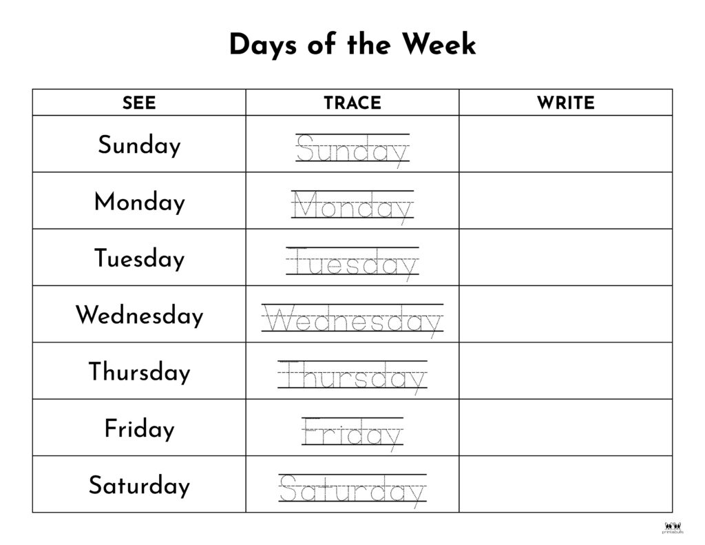 Days of the Week Worksheet-Page 18
