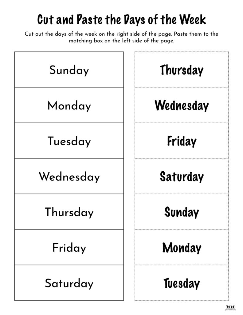 Days of the Week Worksheet-Page 25