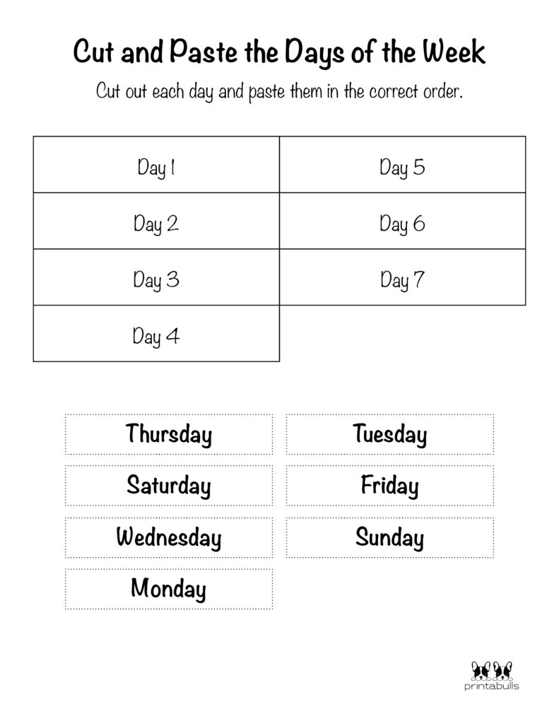 Days of the Week Worksheet-Page 27