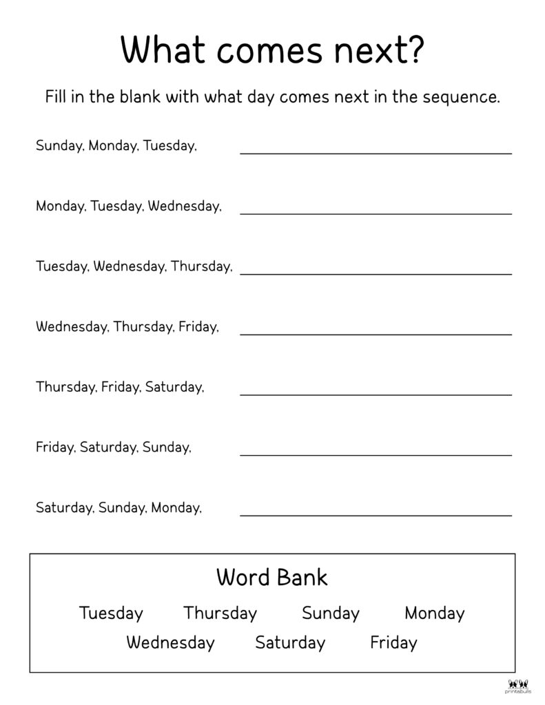 Days of the Week Worksheet-Page 29