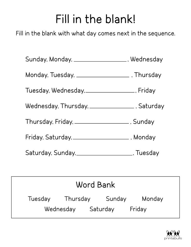 Days of the Week Worksheet-Page 31