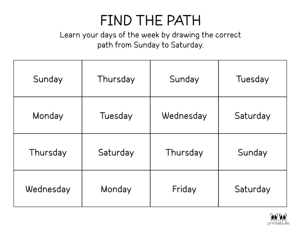 Days of the Week Worksheet-Page 32