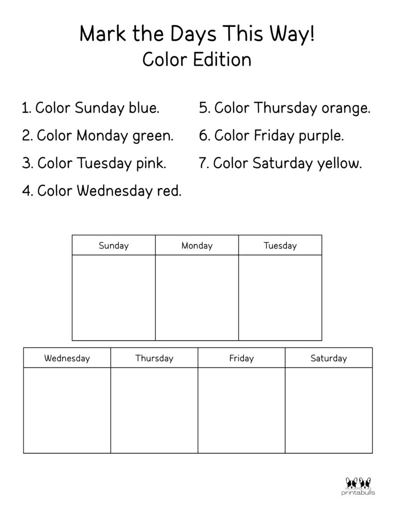 Days of the Week Worksheet-Page 33