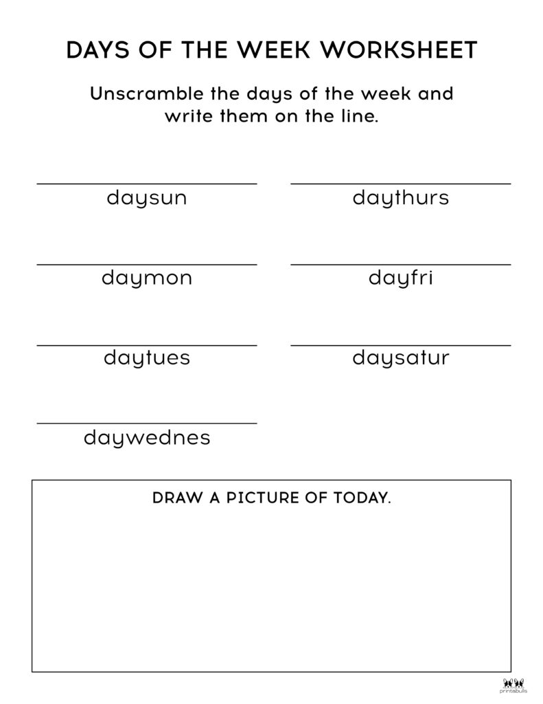 Days of the Week Worksheet-Page 4