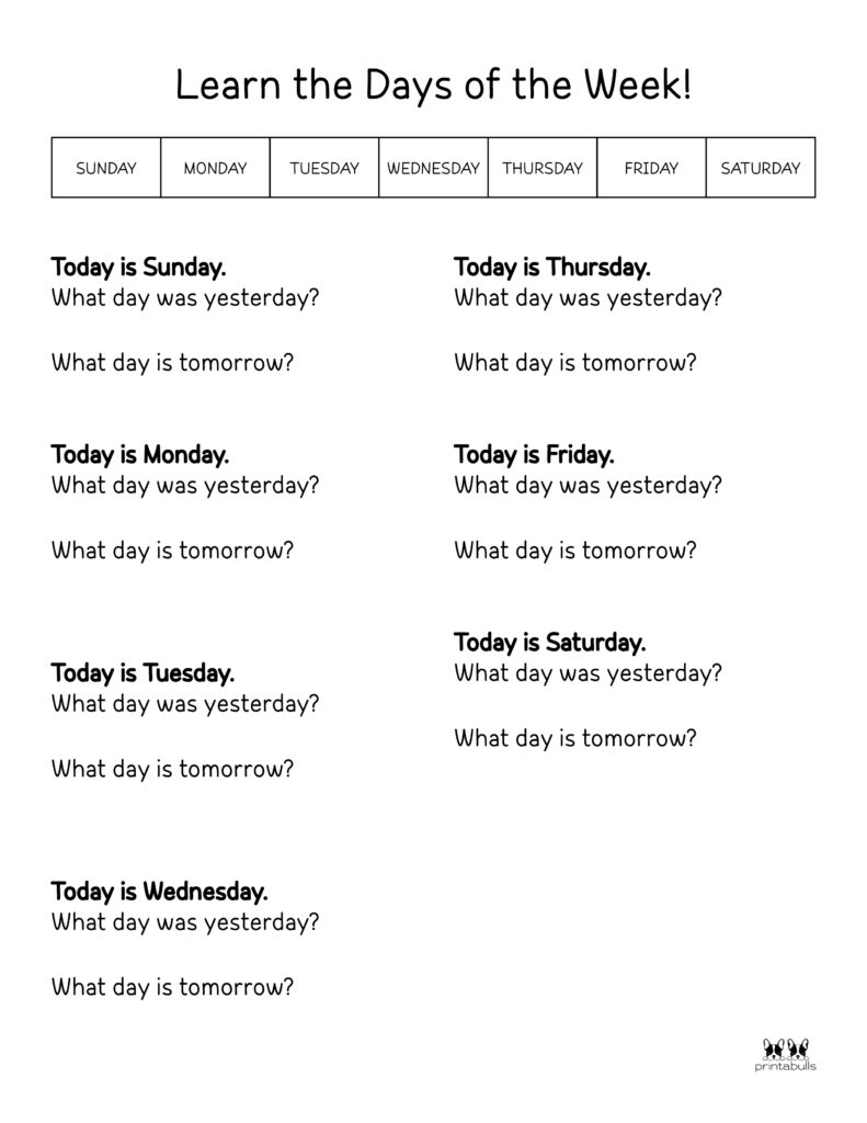 Days of the Week Worksheet-Page 8