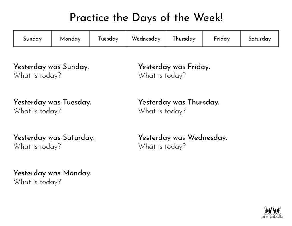 Days of the Week Worksheet-Page 9