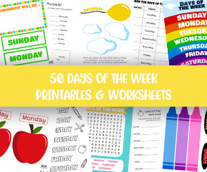 days of the week worksheets and printables
