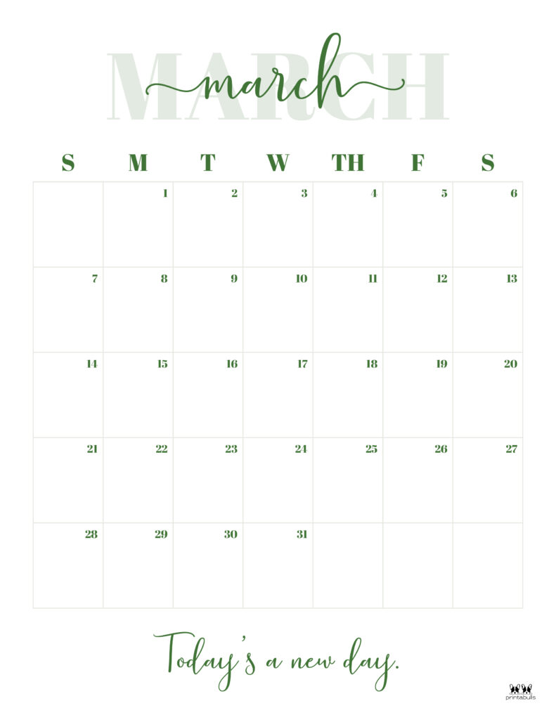 Printable March 2021 Calendar-Style 13