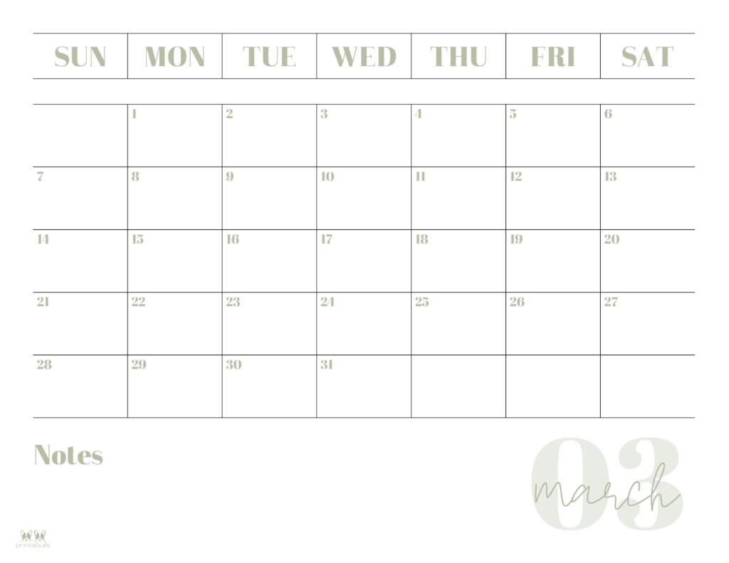 Printable March 2021 Calendar-Style 2