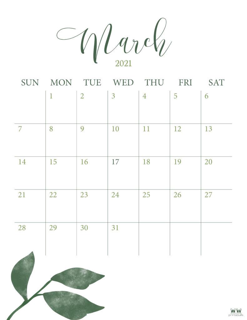 Printable March 2021 Calendar-Style 3