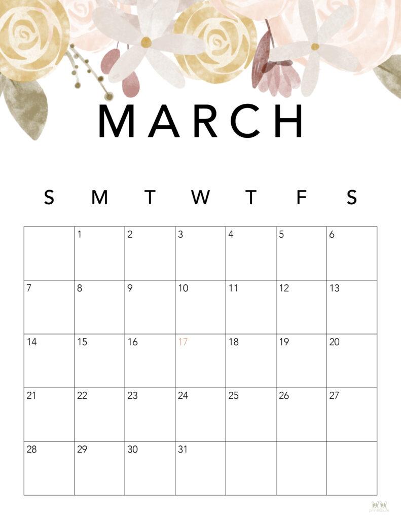 Printable March 2021 Calendar-Style 4