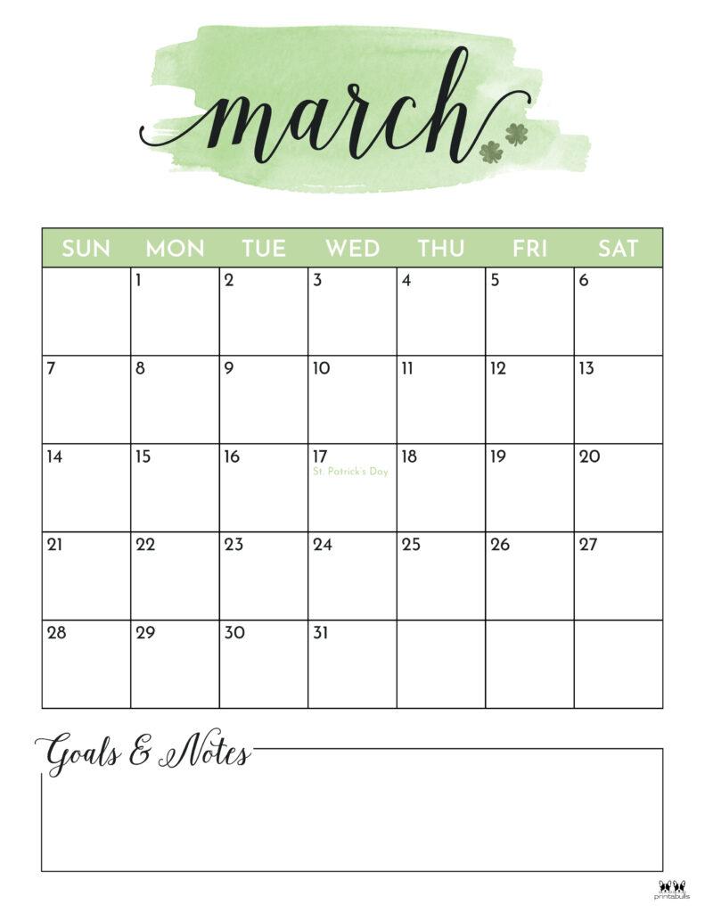 Printable March 2021 Calendar-Style 5
