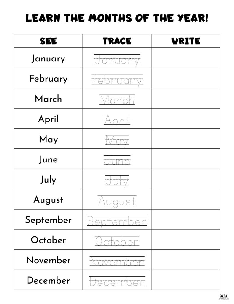 Printable Months Of The Year Worksheet-Page 11