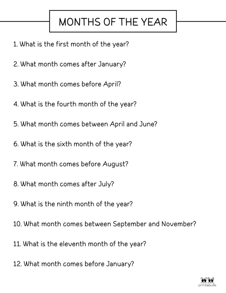Printable Months Of The Year Worksheet-Page 3