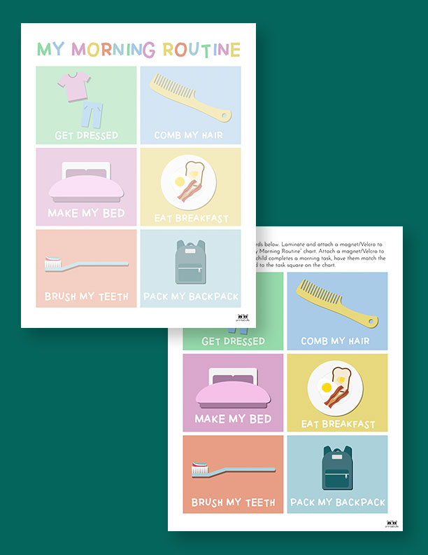 Printable Morning Routine Chart-Page 2