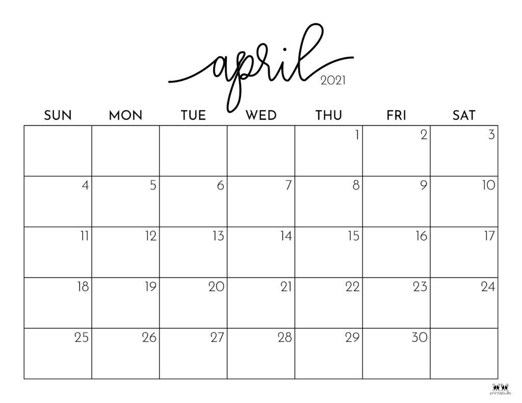 Printable April 2021 Calendar-Style 1