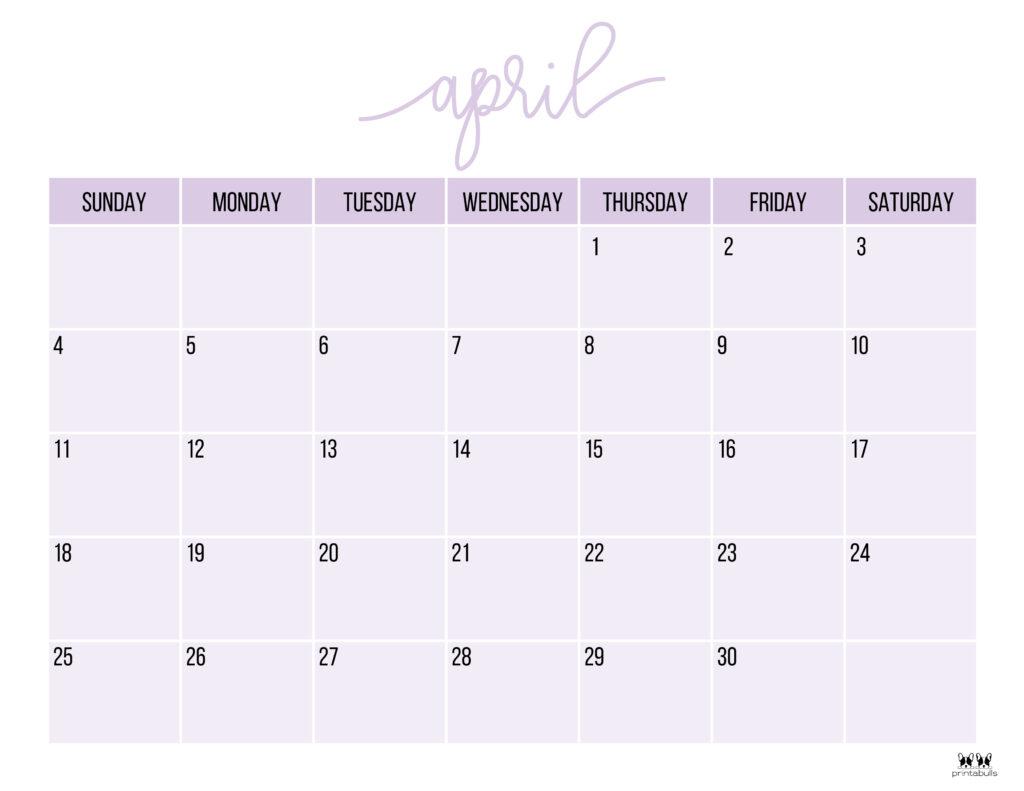 Printable April 2021 Calendar-Style 11