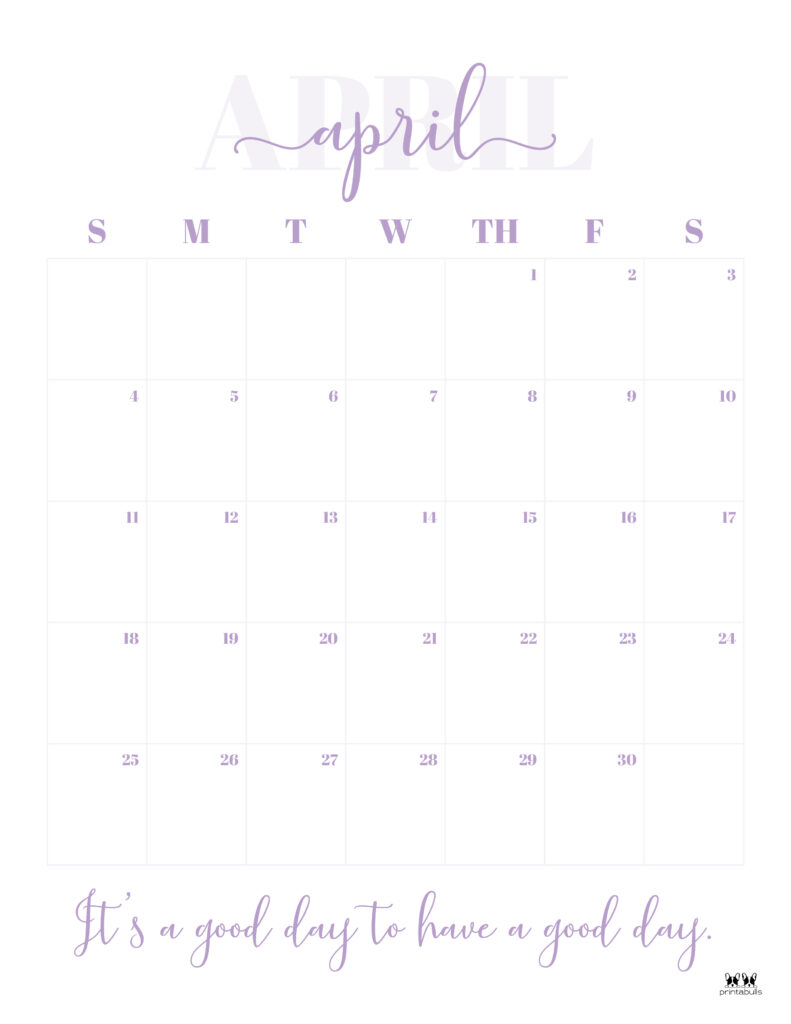 Printable April 2021 Calendar-Style 13