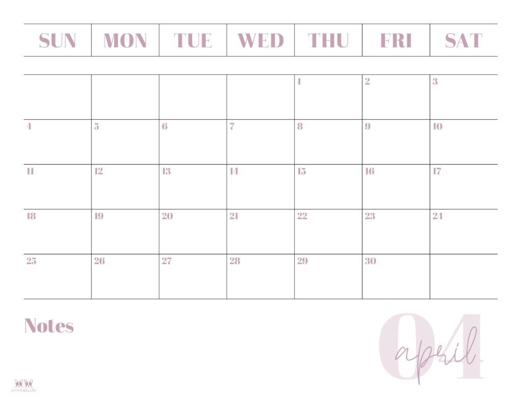 Printable April 2021 Calendar-Style 2