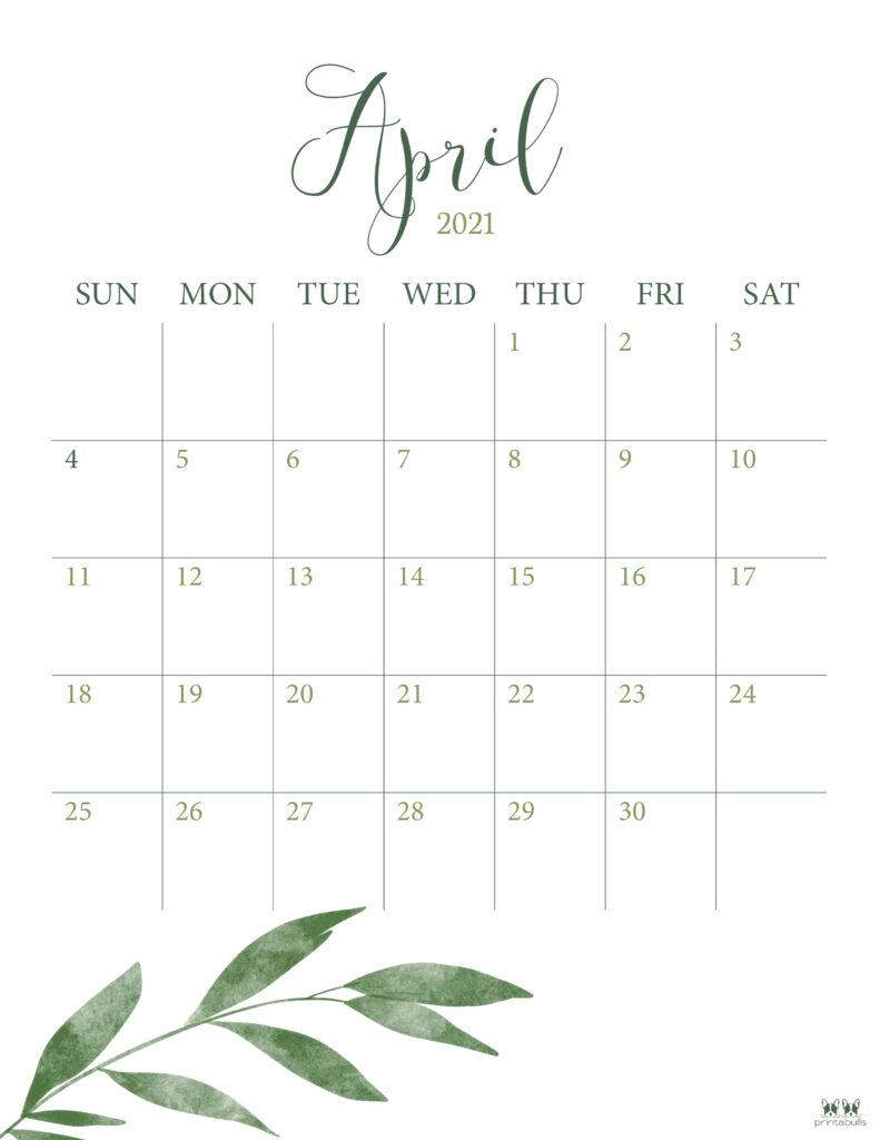 Printable April 2021 Calendar-Style 3