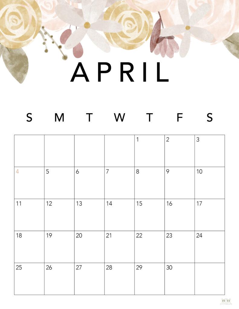 Printable April 2021 Calendar-Style 4