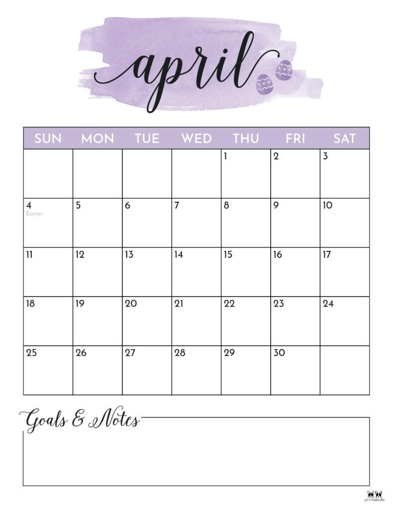 Printable April 2021 Calendar-Style 5