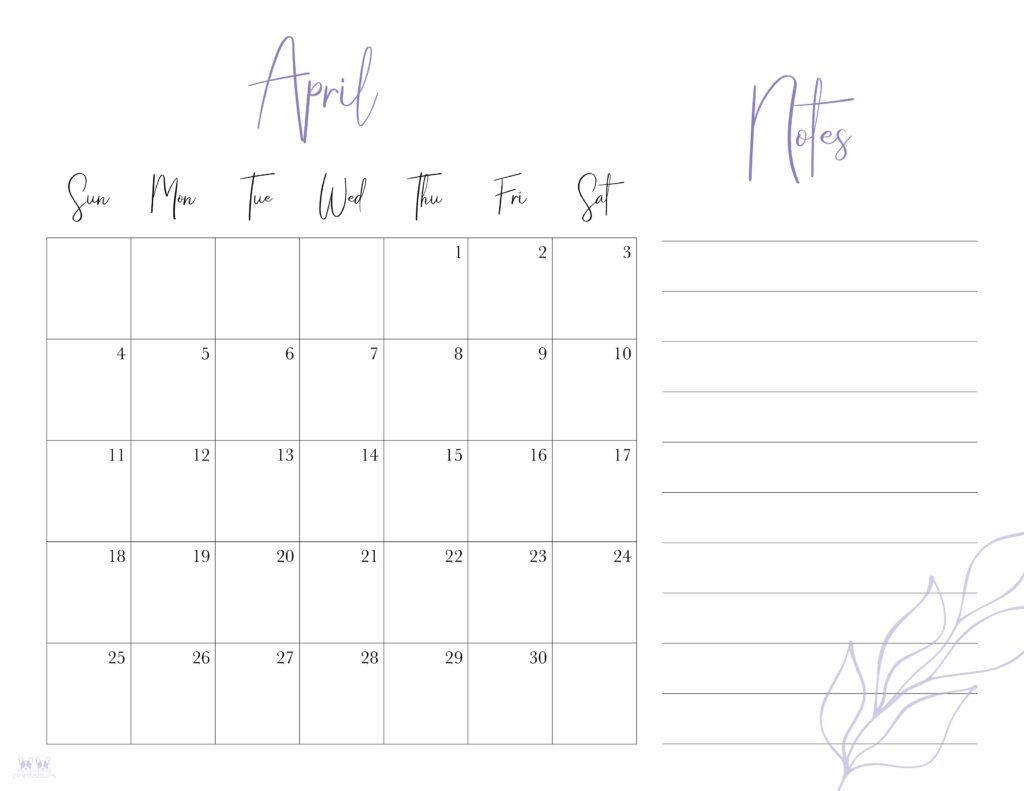 Printable April 2021 Calendar-Style 7