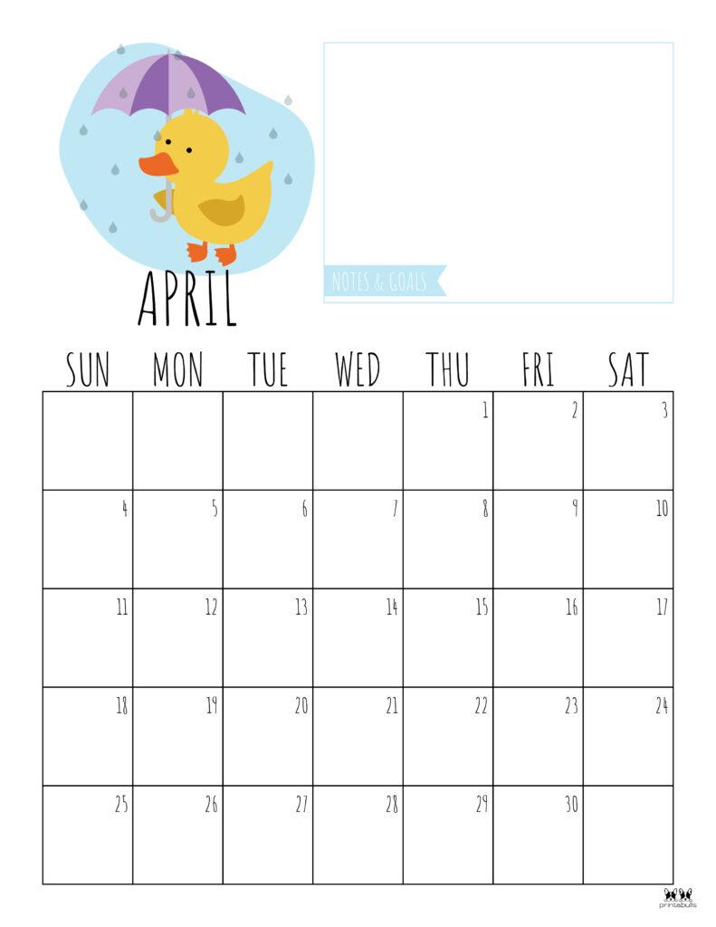 Printable April 2021 Calendar-Style 8