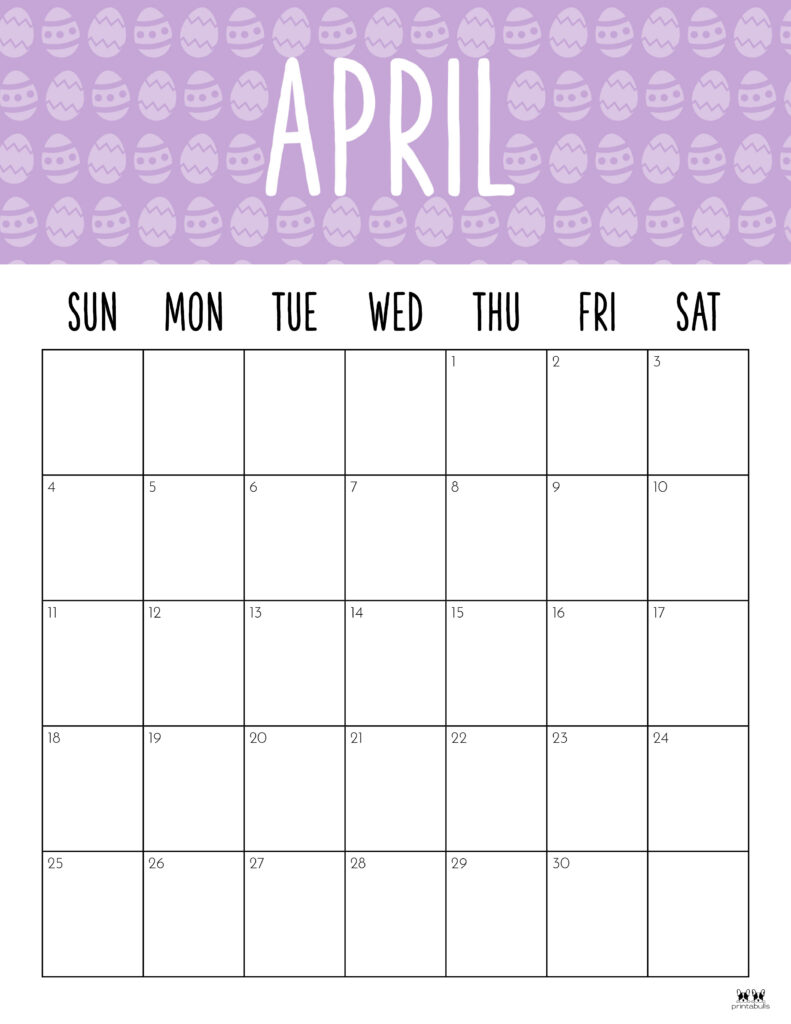 Printable April 2021 Calendar-Style 9