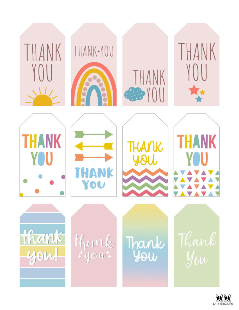 Printable Thank You Tags-Page 1