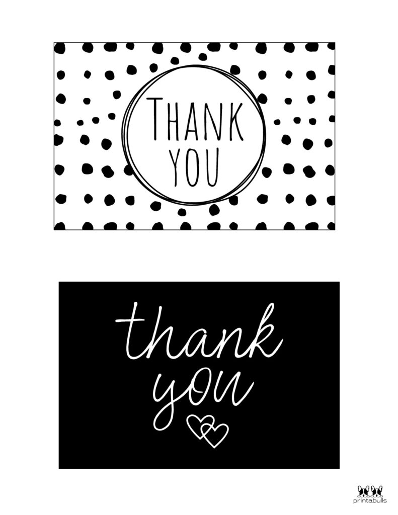Printable Black and White Thank You Cards-Page 1