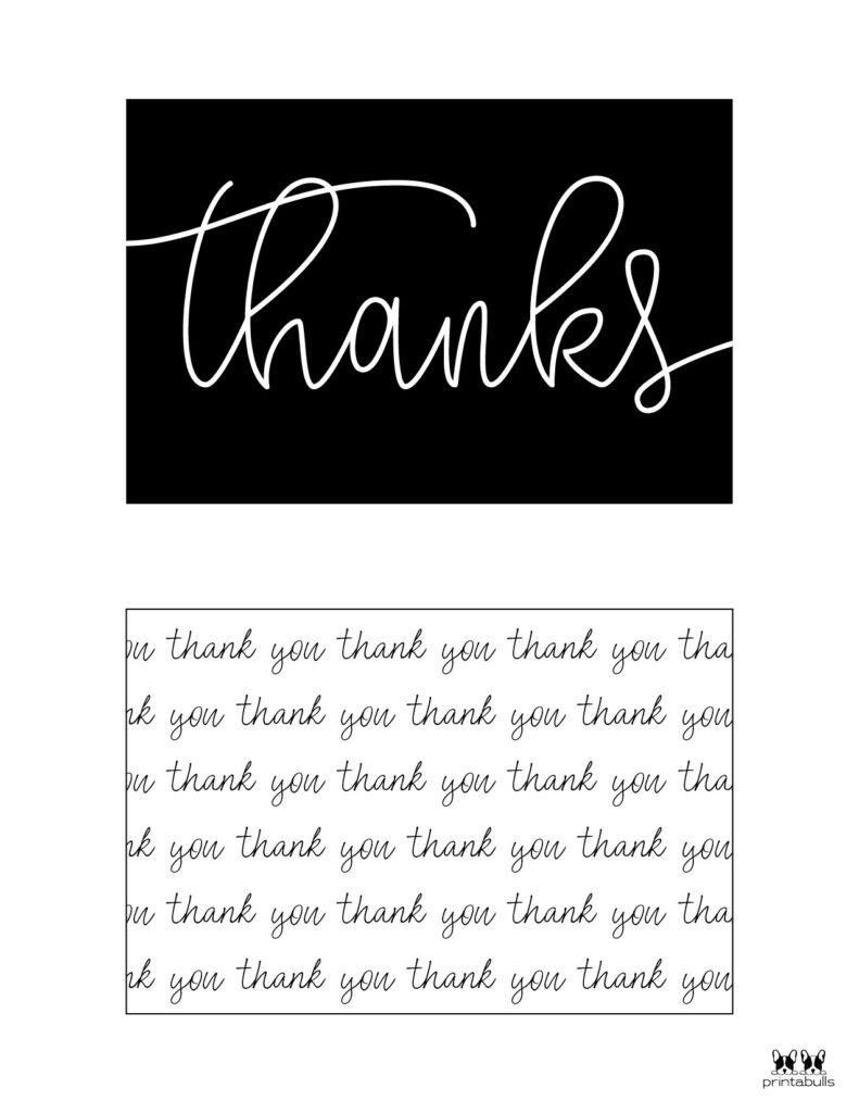 Printable Black and White Thank You Cards-Page 2