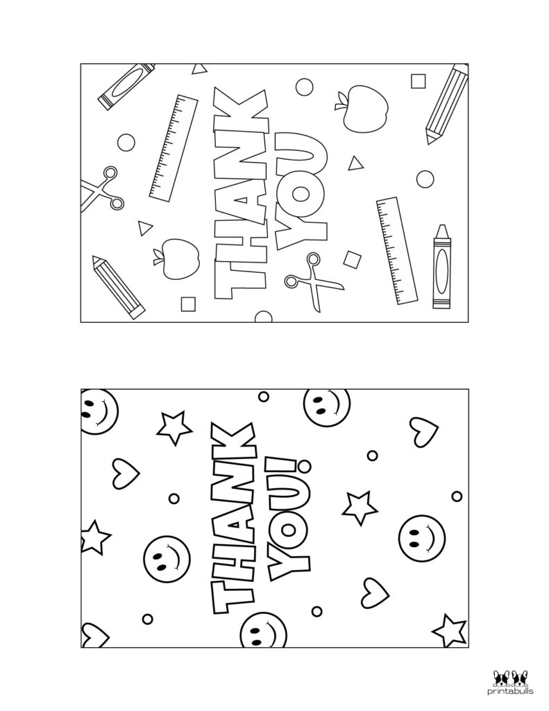 Printable Colorable Thank You Cards-Page 1