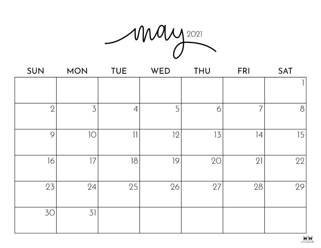 Printable May 2021 Calendar-Style 1