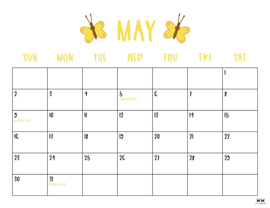Printable May 2021 Calendar-Style 10