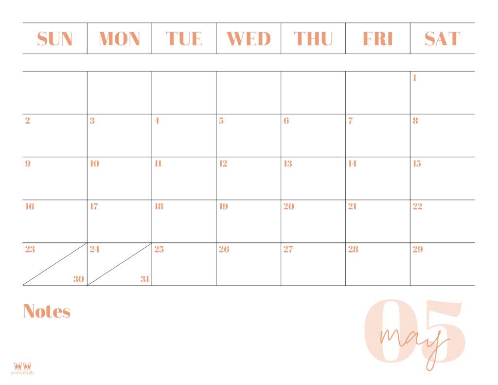 Printable May 2021 Calendar-Style 2