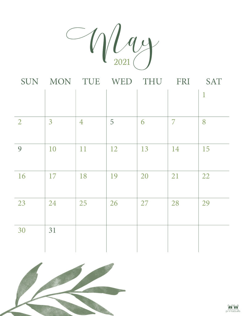 Printable May 2021 Calendar-Style 3