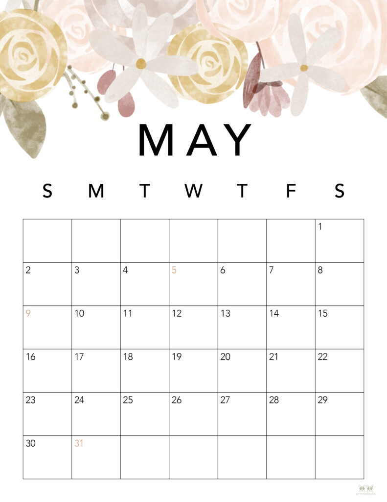 Printable May 2021 Calendar-Style 4