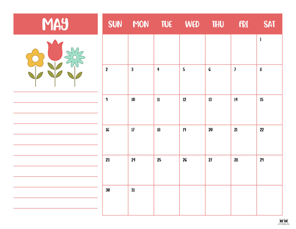 Printable May 2021 Calendar-Style 6