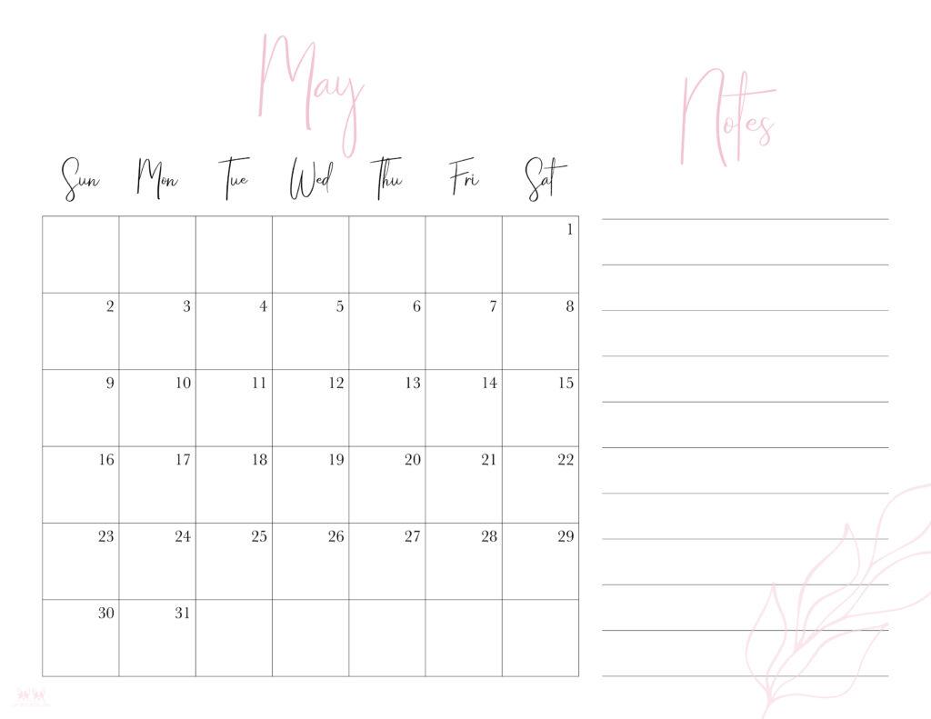 Printable May 2021 Calendar-Style 7