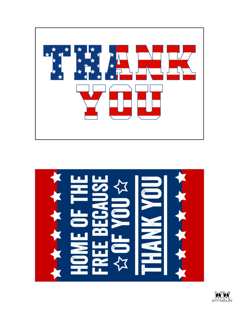 Printable Military Thank You Cards-Page 1