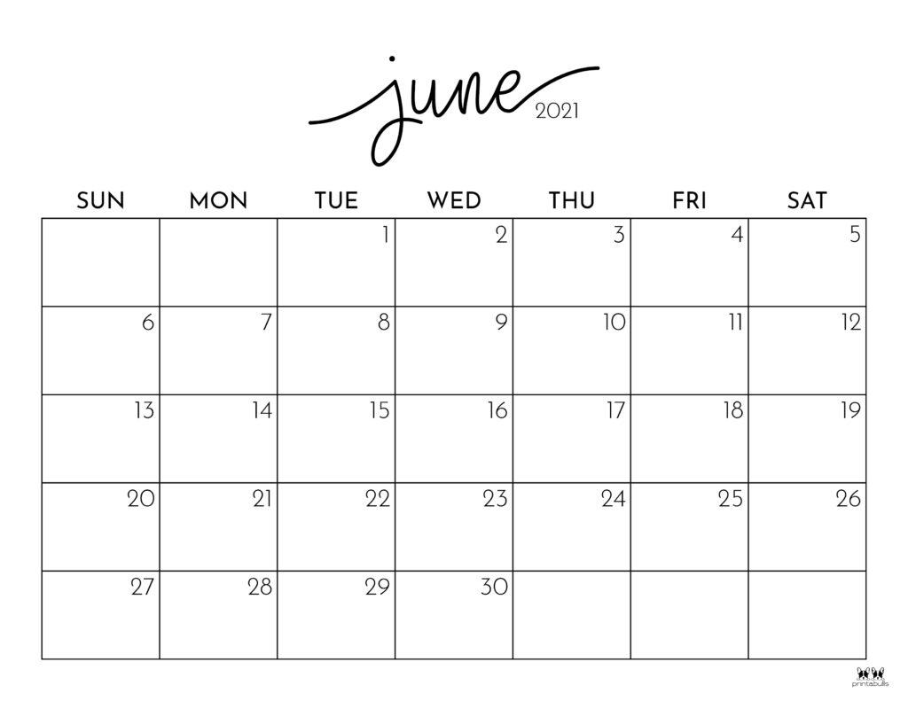 Printable June 2021 Calendar-Style 1