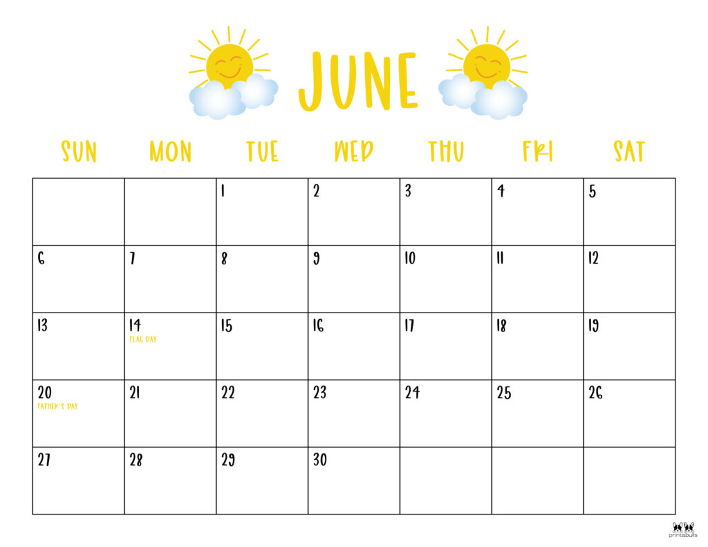 Printable June 2021 Calendar-Style 10