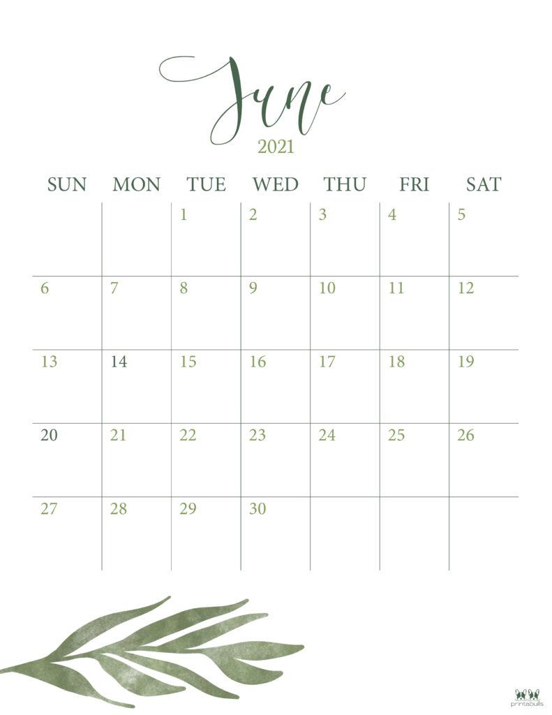 Printable June 2021 Calendar-Style 3