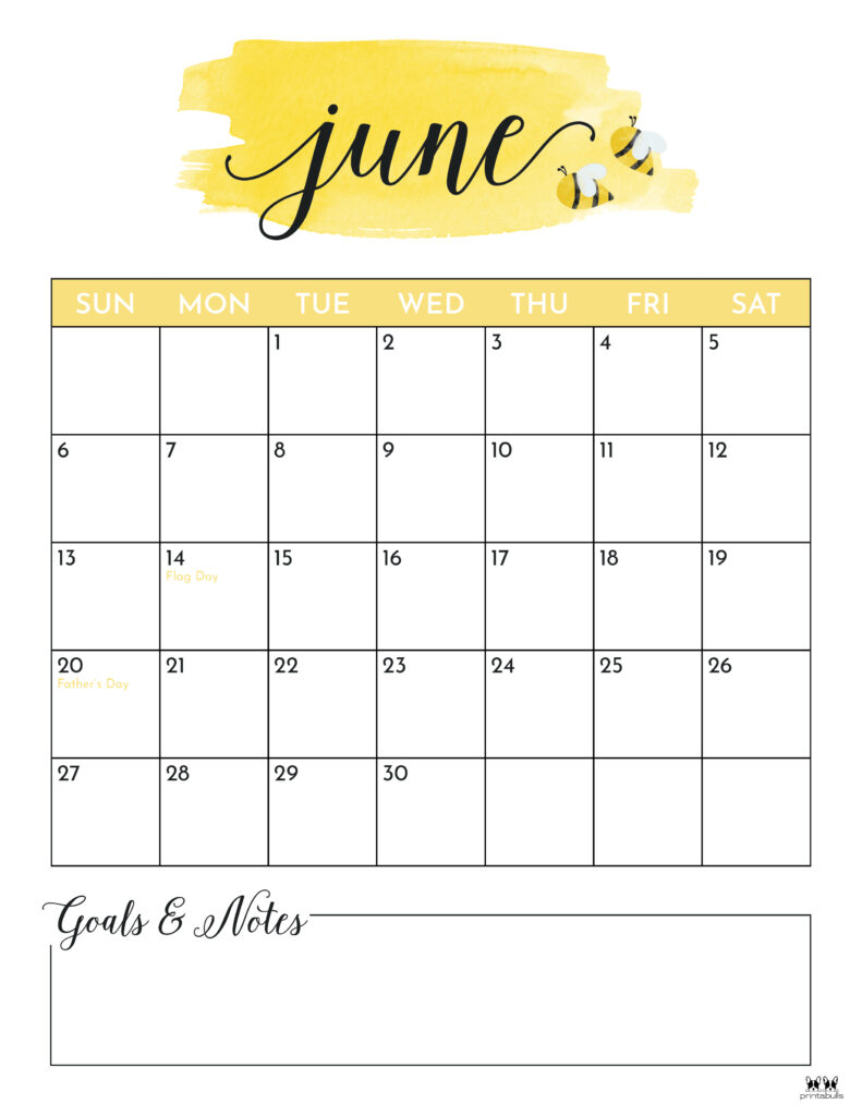 Printable June 2021 Calendar-Style 5