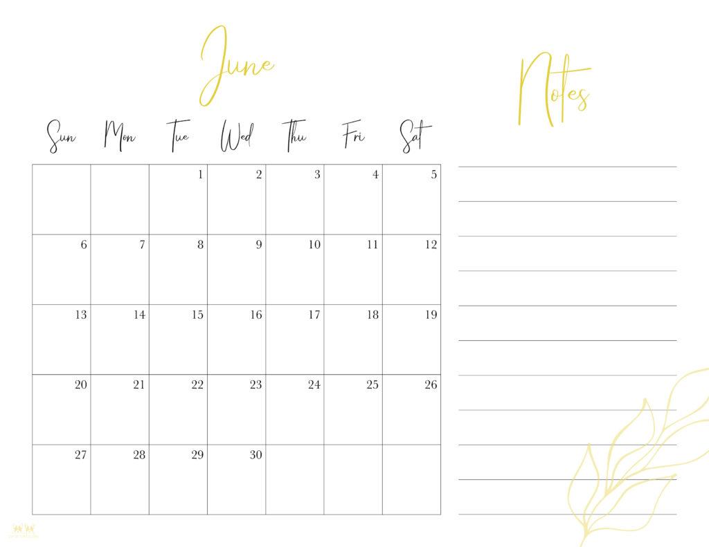Printable June 2021 Calendar-Style 7