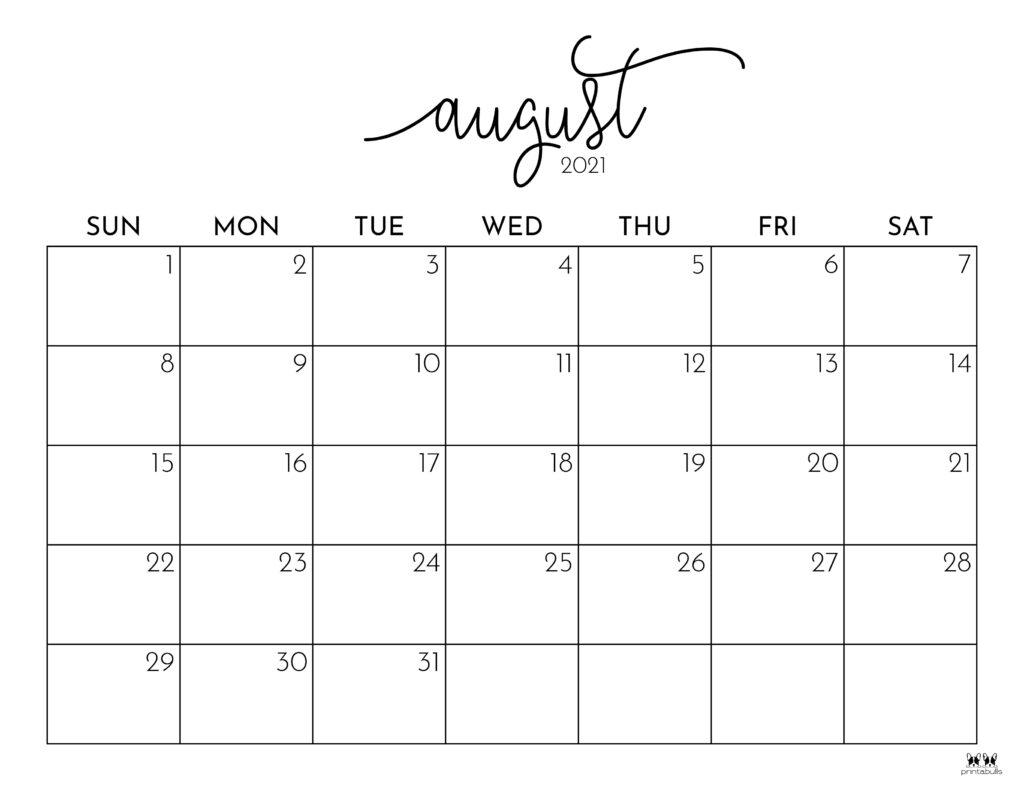 Printable August Calendar-Style 1